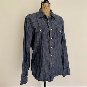 Linen & Cotton Western Chambray Button-down Shirt
